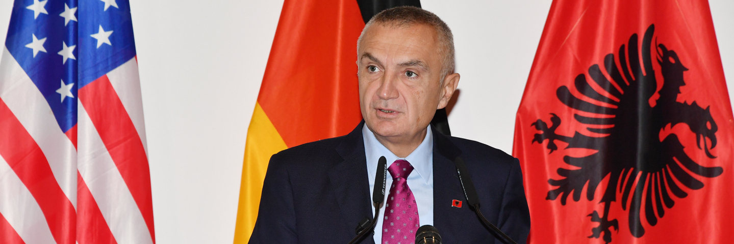 The President of the Republic of Albania Ilir Meta speaks to 98 participants from 42 countries about security and Euro-Atlantic integration in the Balkans from the Albanian perspective at the George C. Marshall European Center for Security Studies Oct. 25.
