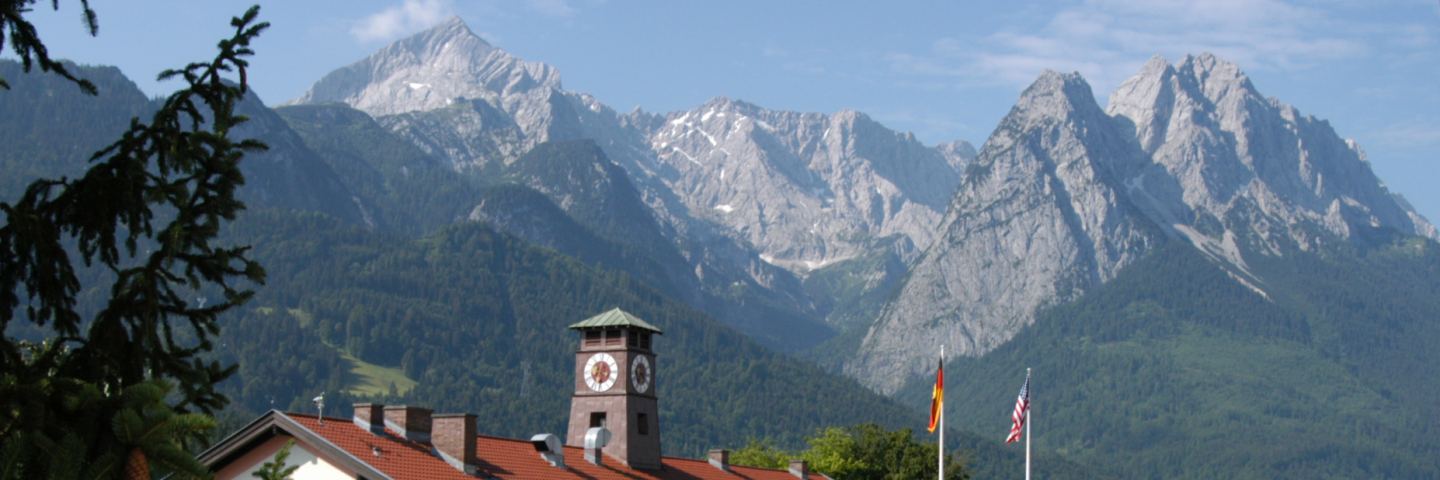 Garmisch Mountians with German and American Flag