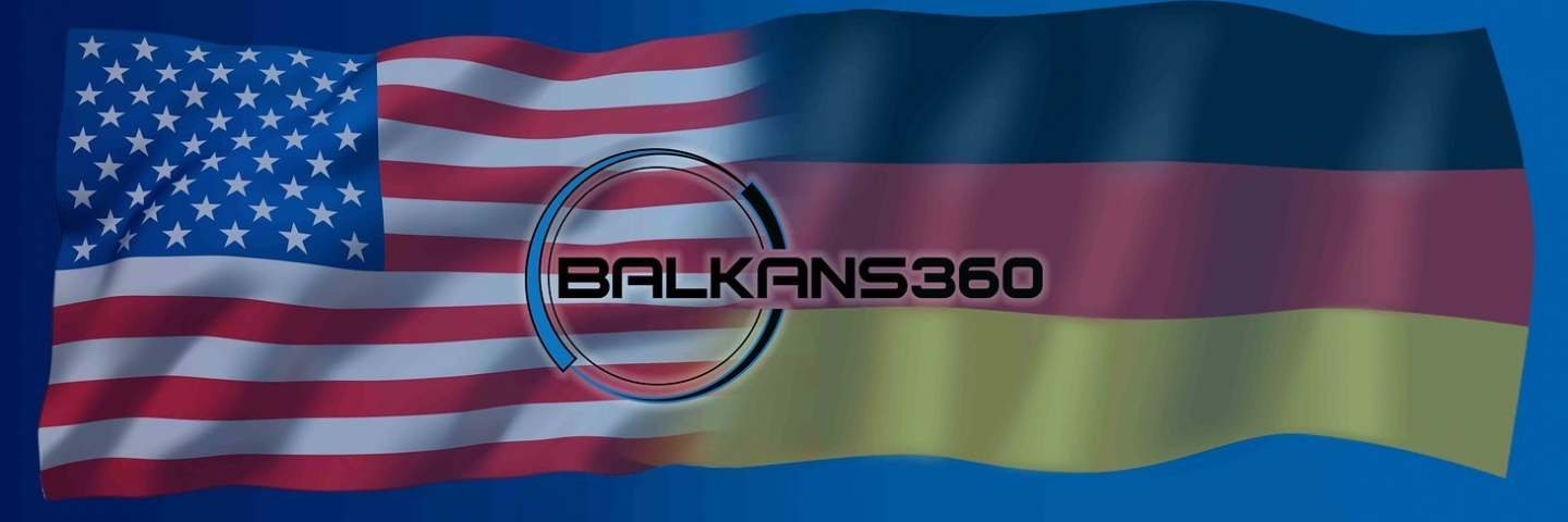 A poster showcasing the American and German flag with the wording, Balkan 360 in the middle.
