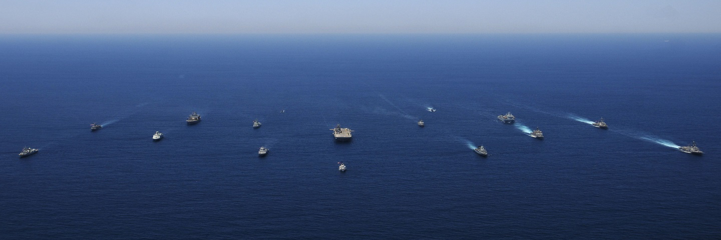 Photo of 16 coalition partner ships sailing in formation