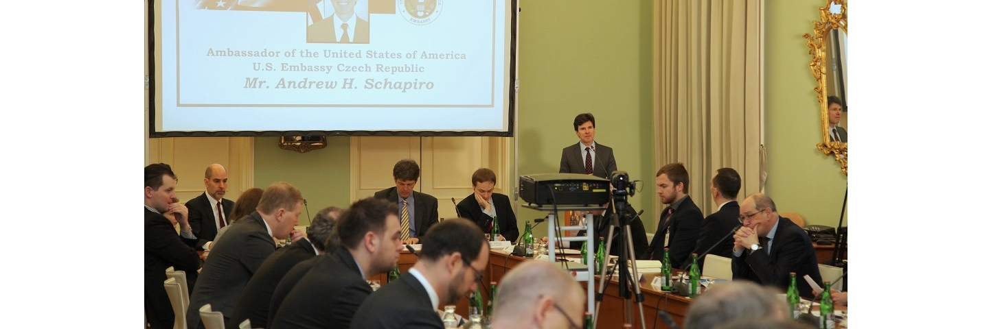 A photograph of U.S. Ambassador to Czech Republic Andrew Schapiro makes opening remarks to the Euroatlantic Security: A Pre-Warsaw Assessment Seminar organized by the Marshall Center's Non-Resident Program