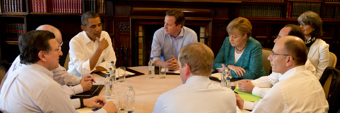 A photograph of G8 leaders discussing issues of global importance at the 2013 summit in Lough Erne, Northern Ireland.