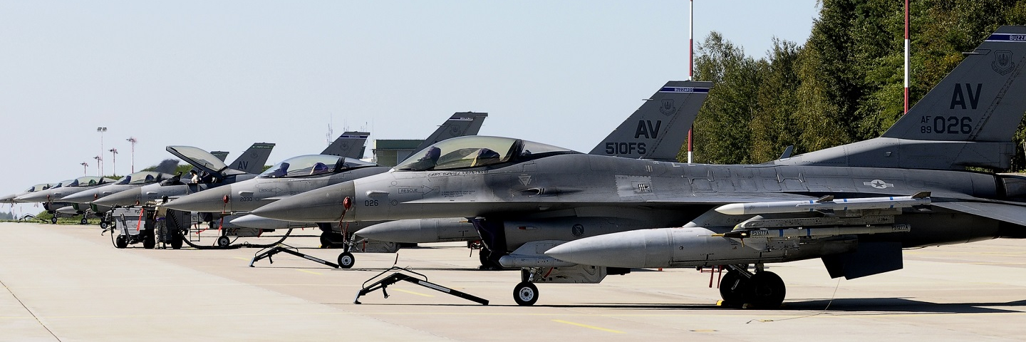 F-16 Fighting Falcons sit on the ramp Sept. 5, 2014, at Lask Air Base Poland.
