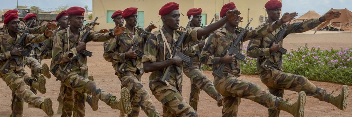 Members of the Djiboutian Army's first ever Rapid Intervention Battalion (RIB), graduated from training following a culminating exercise at a site outside Djibouti City, May 3, 2018.