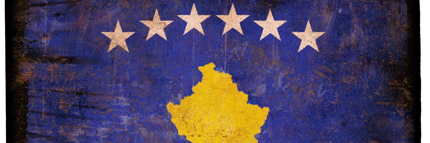 A painting of the Kosovo flag.