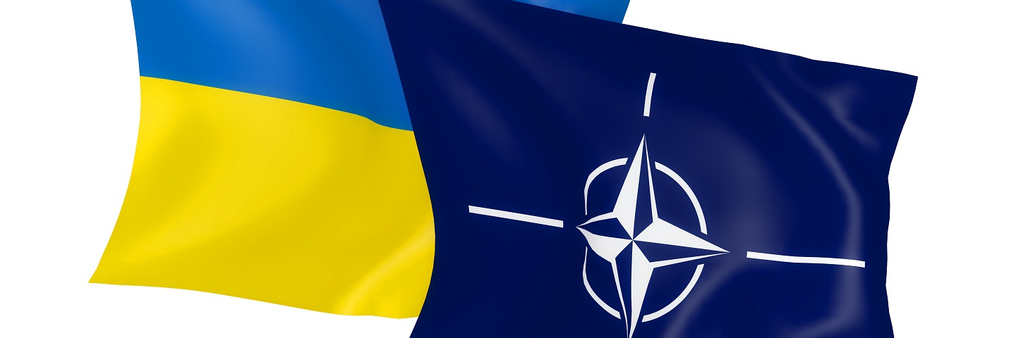 A photograph of the flag of Ukraine and NATO.