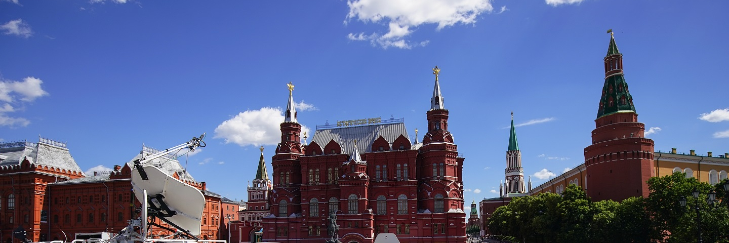 A photograph of an RT news van in Red Square, Moscow, Russia.