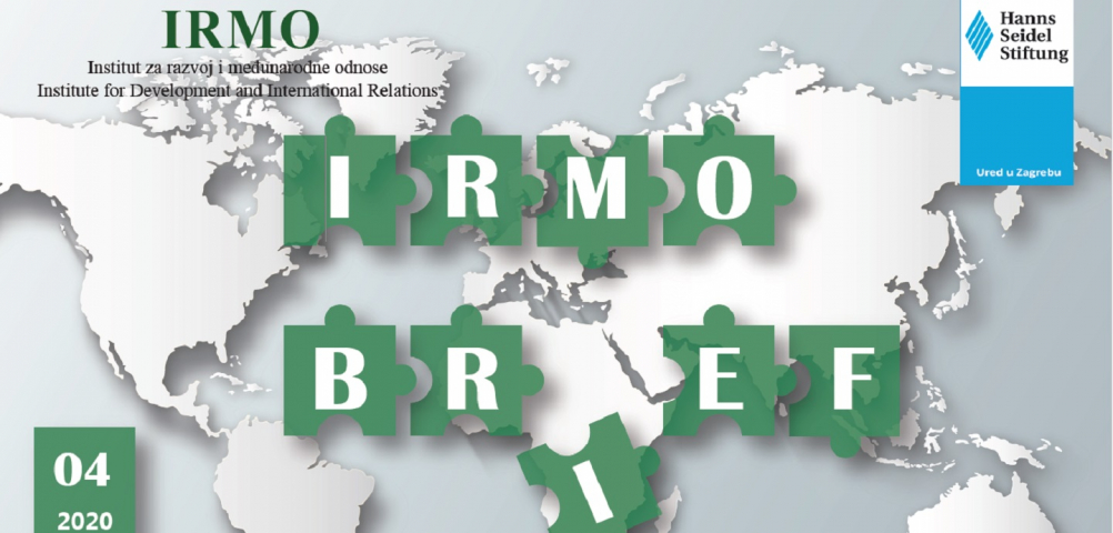 A graphic for IRMO brief with a world map.