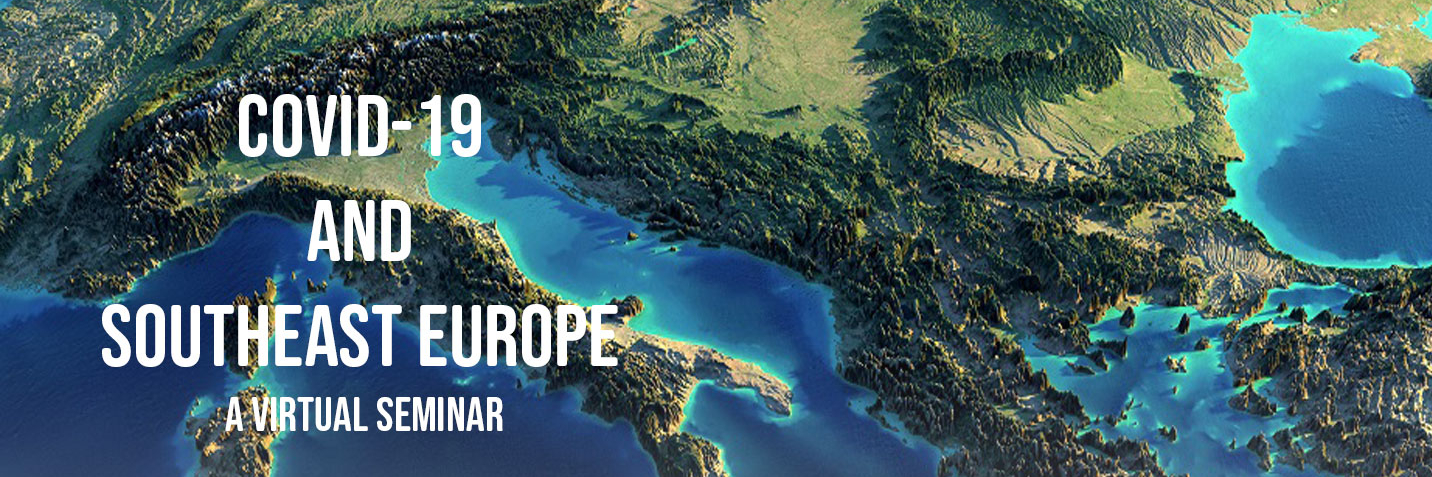 A graphic of europe with the title of this online event COVID-19 and Southeast Europe.