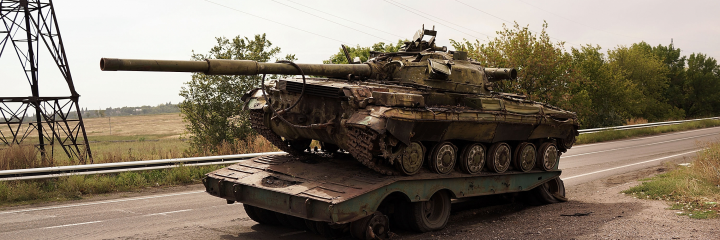 A destroyed tank is viewed on the road out of Donetsk on September 12, 2014 in Donetsk, Ukraine.