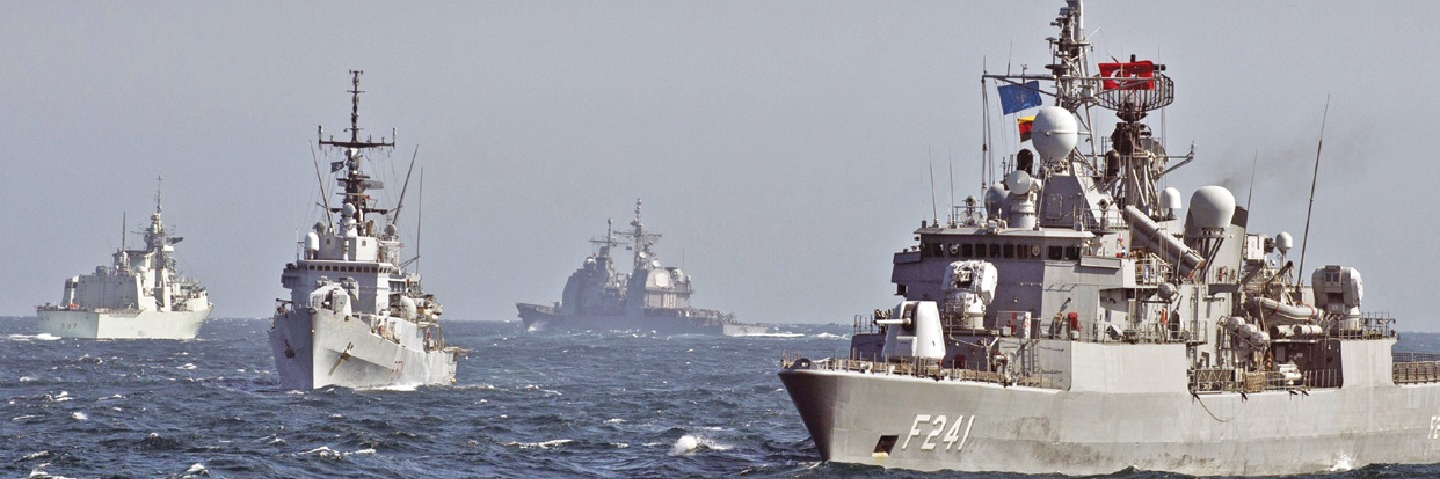 Ships participating in a military drill in the Black Sea.