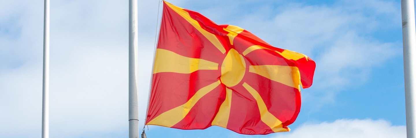 The flag of the Republic of North Macedonia is raised at Supreme Headquarters Allied Powers Europe (SHAPE) during a ceremony welcoming the Republic of North Macedonia as NATO's newest Allied nation. The Republic of North Macedonia became the thirtieth Allied nation during the ceremony presided over by Supreme Allied Commander Europe (SACEUR) General Tod D. Wolters.