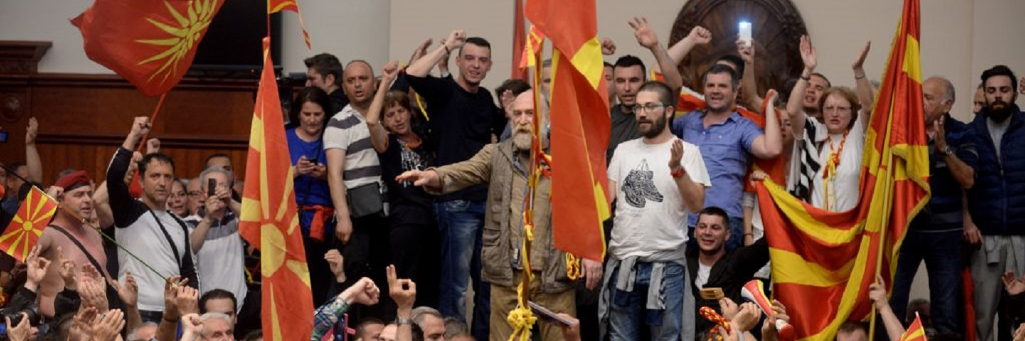 Supporters of former leading party VMRO-DPMNE occupy parliament after the Social democrats voted in a new parliament speaker in Skopje on April 27, 2017.