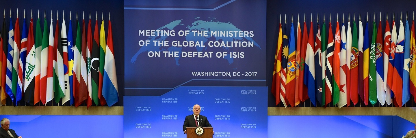 Prime Minister Haider Jawad Al-Abadi delivers remarks at the Meeting of the Ministers of the Global Coalition on the Defeat of ISIS at the U.S. Department of State in Washington, D.C. on March 22, 2017.