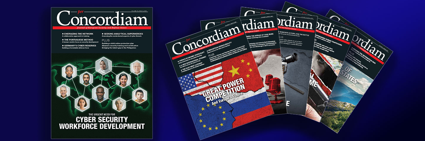Photos of the cover page of per Concordiam magazines.