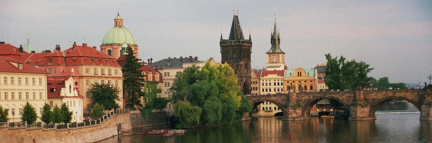 View of the river, bridge and buildings in Prague, Czech Republic.
