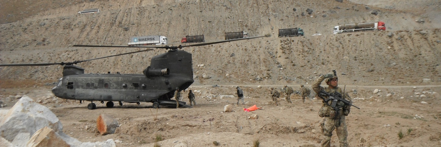 Support personnel depart the Salang Pass landing zone via Chinook during a site assessment of Operation Mountain Blade in the Parwan province, Afghanistan.