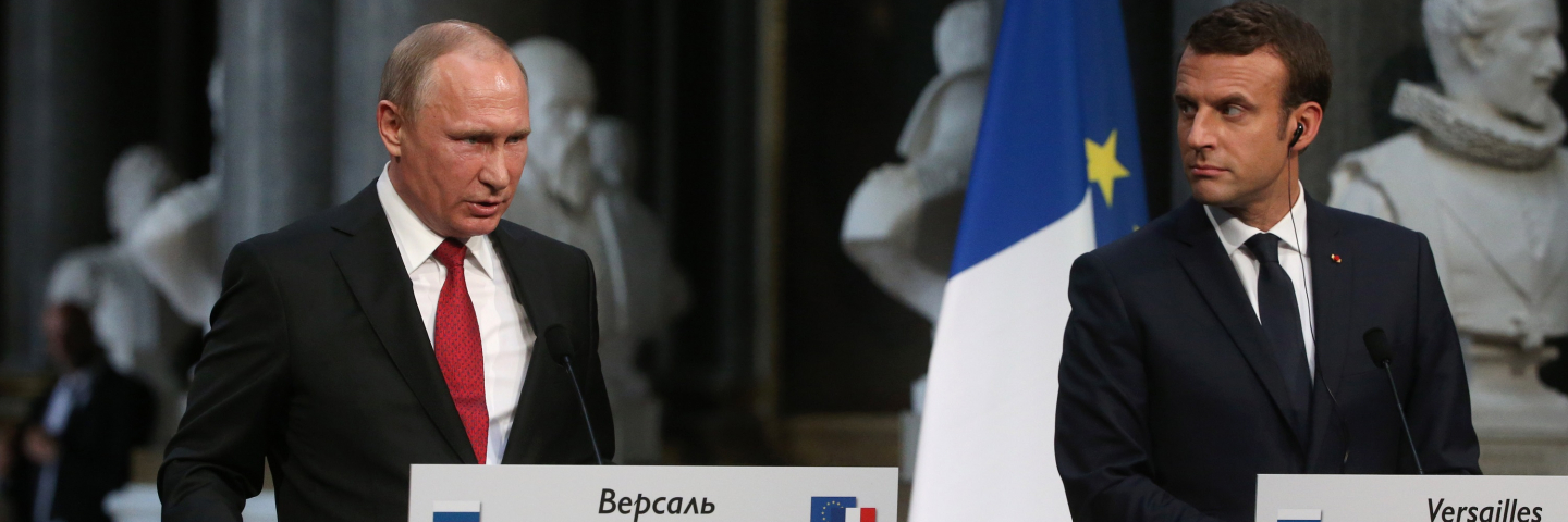 French President Emmanuel Macron (R) and Russian President Vladimir Putin (L) during their meeting on May, 29, 2017 in Versailles, France. Putin is visiting France for talks with Macron in the wake of the G7 summit, with the Ukrainian crisis, the war in Syria and Russia's ties with the EU expected to be on the agenda.