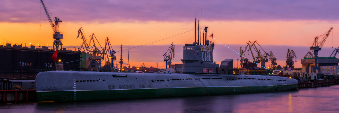 Russian Submarine at the pier in Saint Petersburg at sunset.