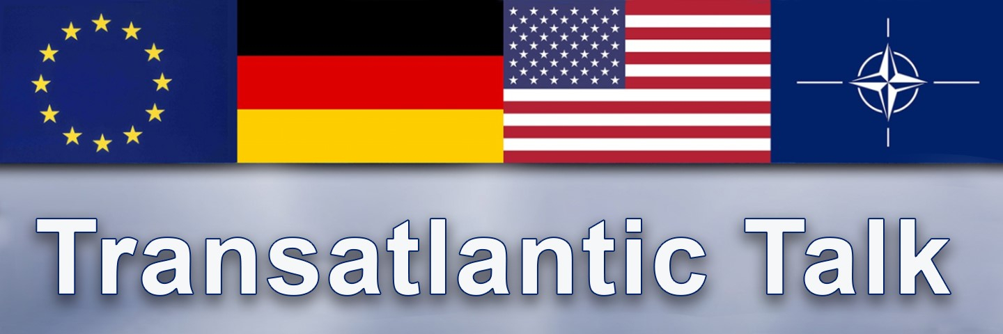 Flags of EU, Germany, USA and NATO with the wording Transatlantic Talk.