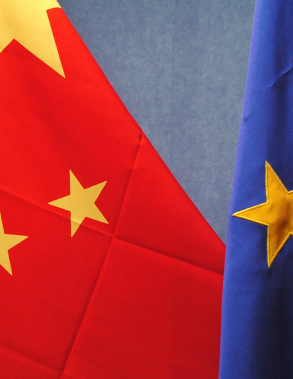 Chinese flag, on the left, and European flag