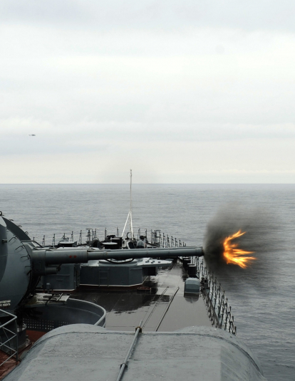 Russian Navy Destroyer Fires AK 130 MR 184130