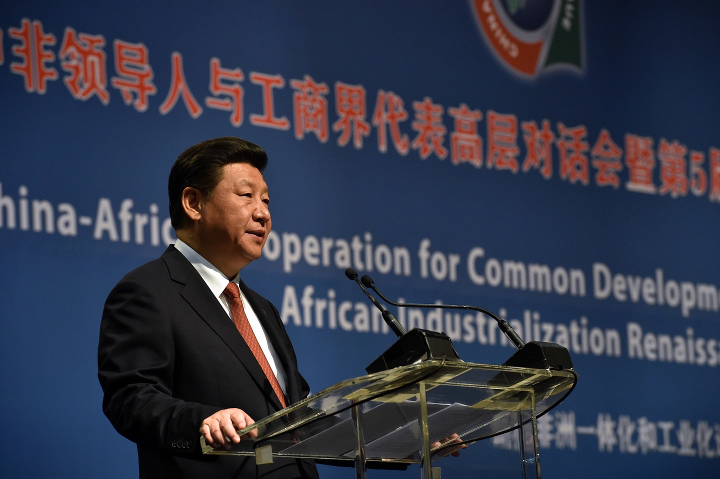Chinese President Xi Jinping speaks at the Forum on China–Africa Cooperation in 2015. Established in 2000, the FOCAC summit meets every 3 years. In between summits, a follow-up committee of Chinese and African institutions implements and monitors a wide range of programs. (Photo: GCIS.)