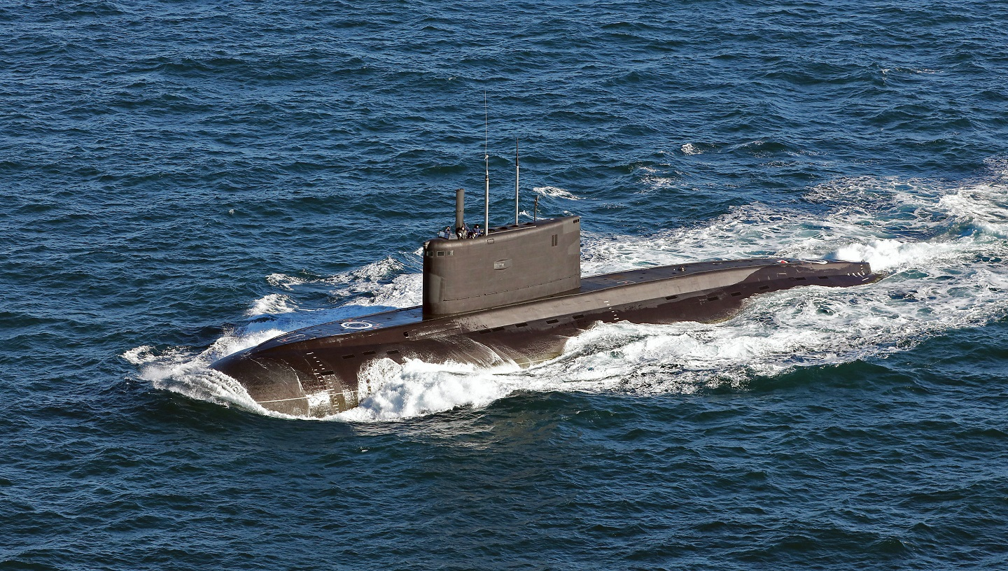 Kilo-Class Russian Submarine in the English Channel, October 9, 2018.asks in Mediterranean Sea, May 31, 2018.