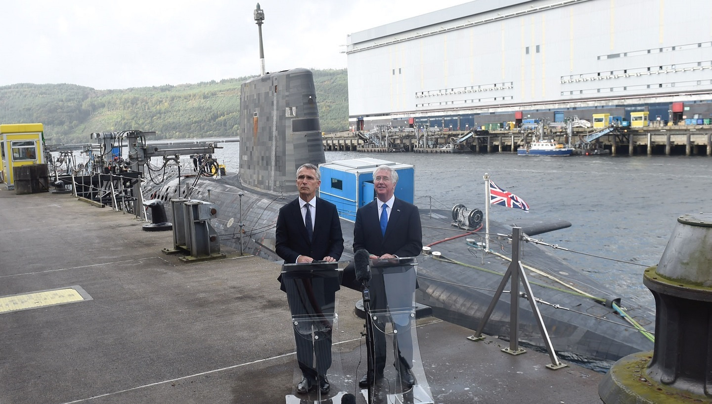 Joint press conference by NATO Secretary General Jens Stoltenberg and UK Secretary of State for Defence, Michael Fallon at Clyde Naval Base in Scotland