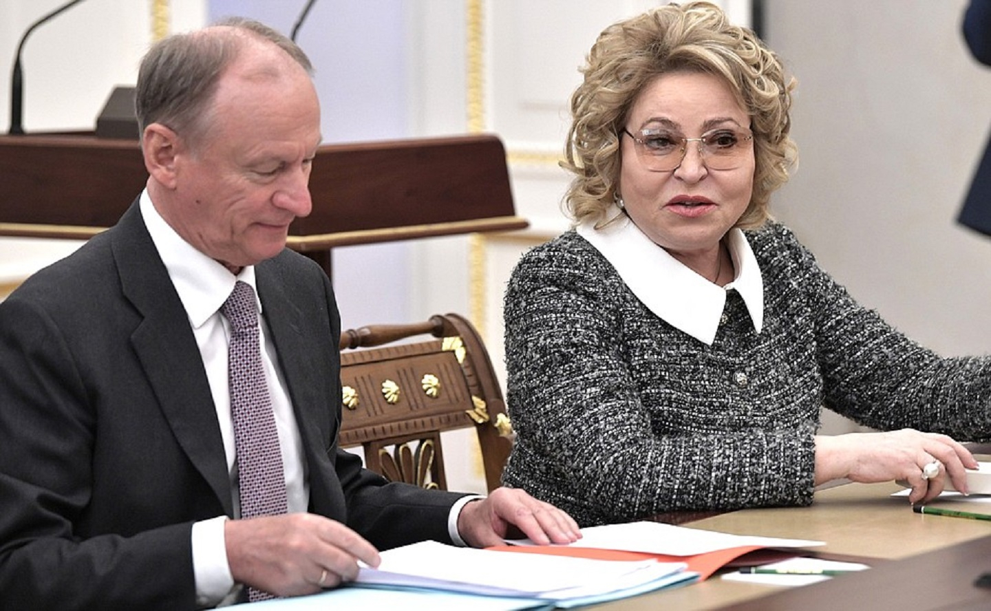 Expanded meeting of the Security Council, April 16, 2019 Security Council Secretary Nikolai Patrushev and Federation Council Speaker Valentina Matviyenko before the expanded meeting of the Security Council.