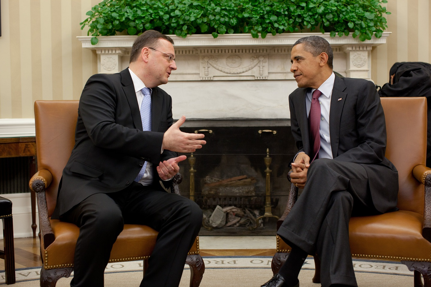 President Barack Obama holds a bilateral meeting with Prime Minister Petr Necas of the Czech Republic, in the Oval Office, Oct. 27, 2011. (Official White House Photo by Pete Souza)