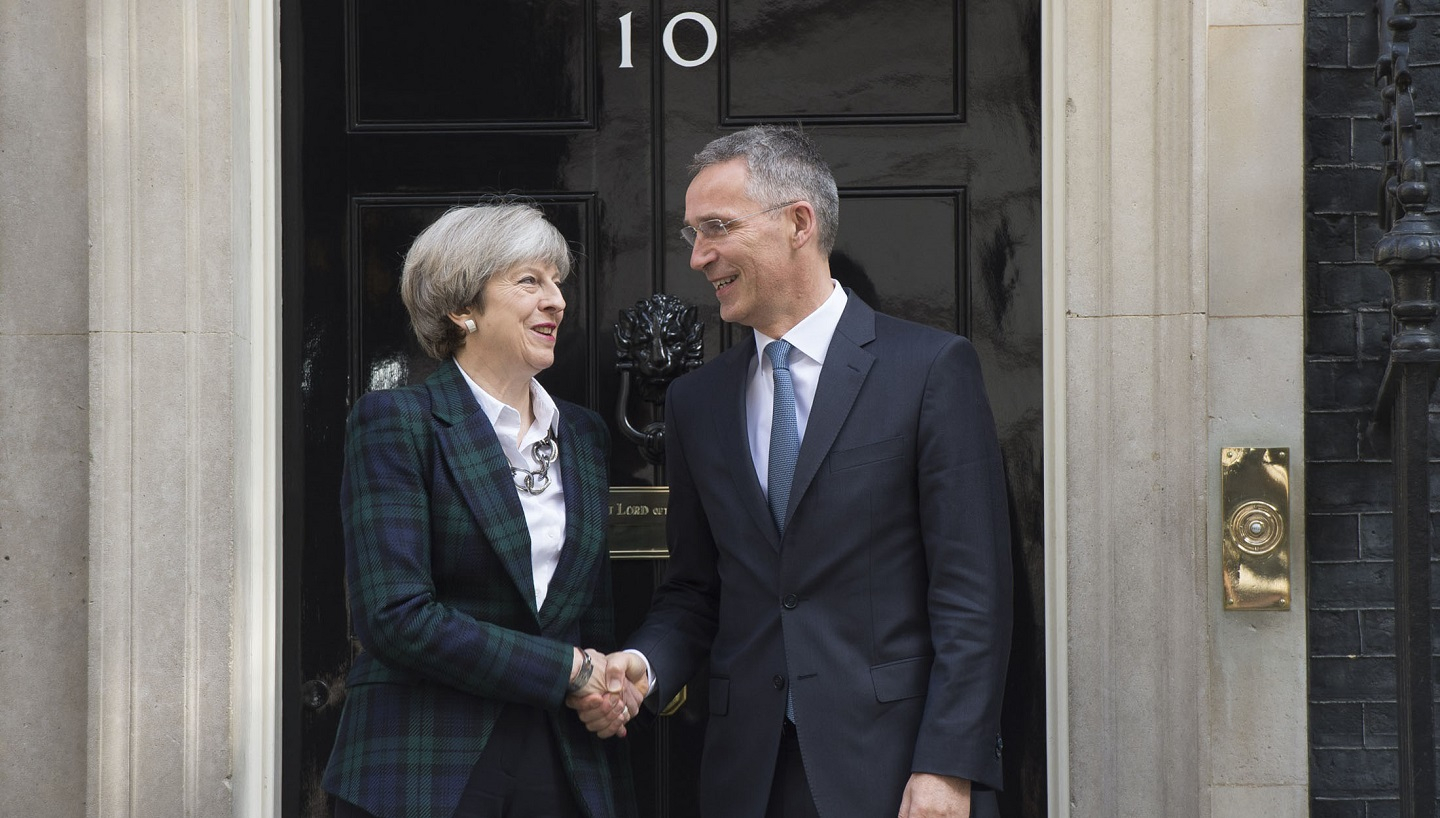 Theresa May and Jens Stoltenberg