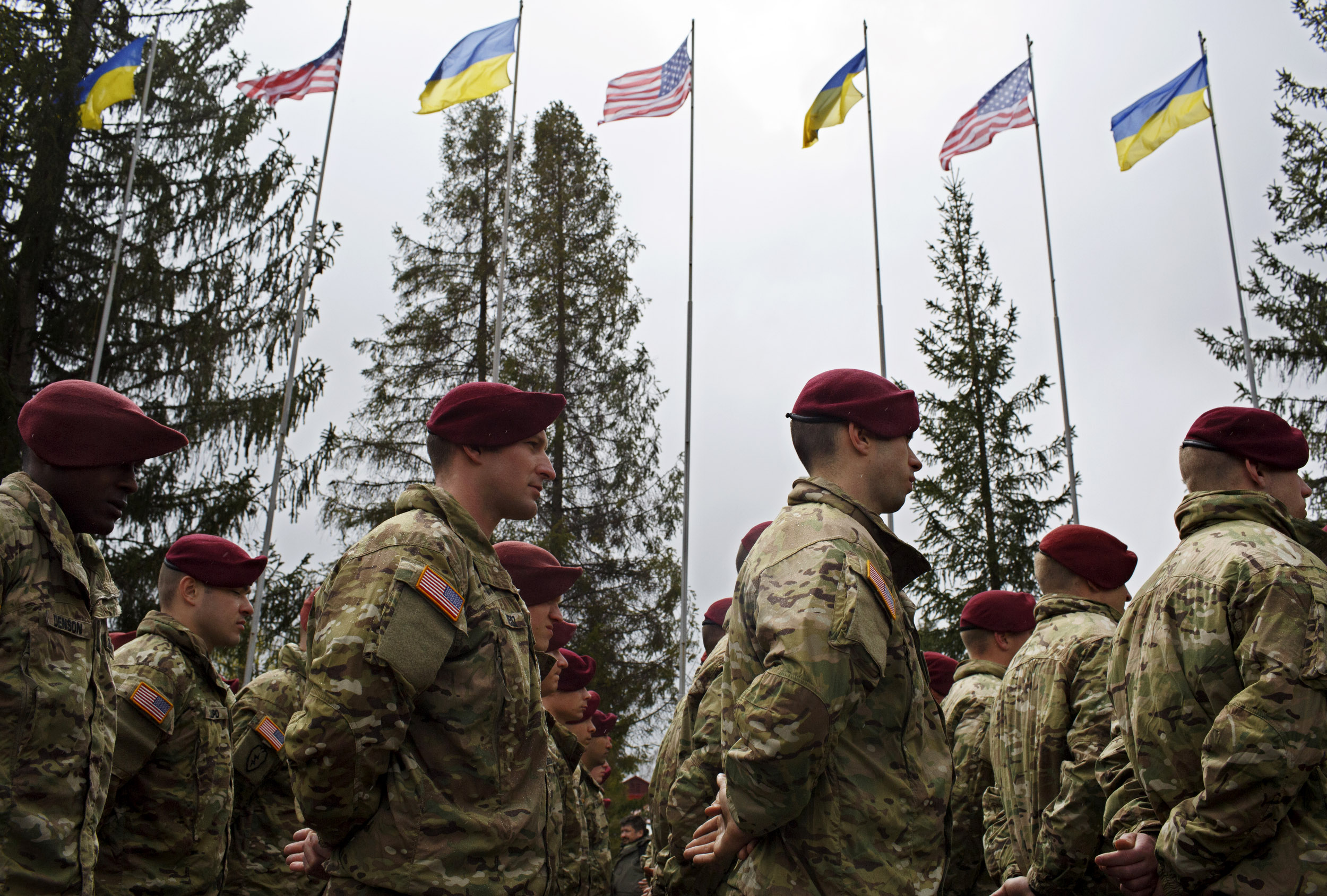 Members of the American 173rd Airborne unit stand at attention during the opening ceremony for Operation Fearless Guardian on April 20, 2015 at the International Peacekeeping and Security Center near Yavoriv, Ukraine.