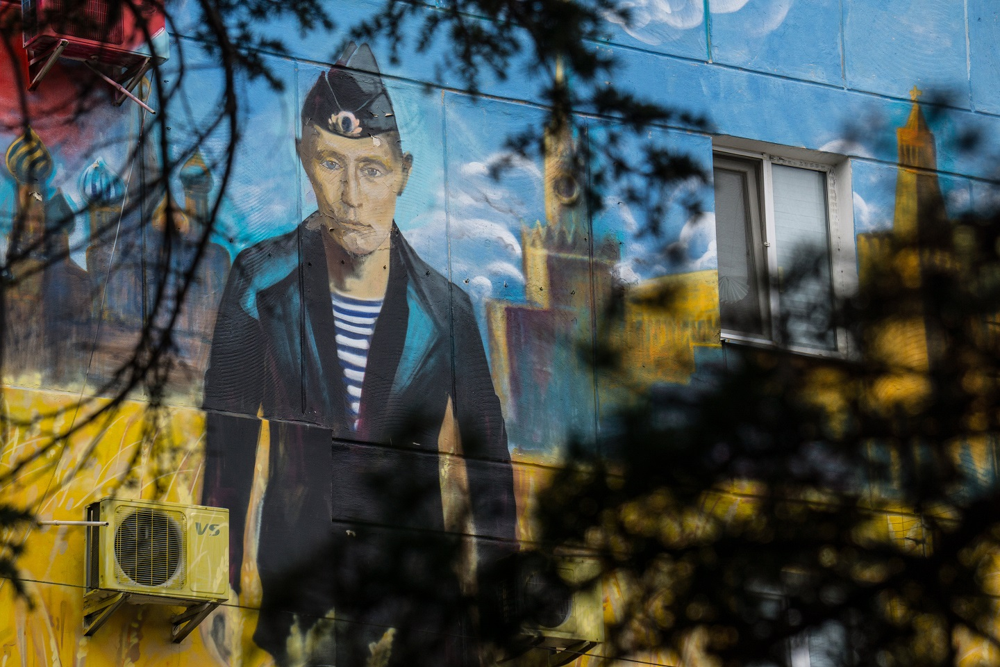 An image of Vladimir Putin on one of houses in Sevastopol on August 12, 2015 in Sevastopol, Crimea. Russian President Vladimir Putin signed a bill in March 2014 to annexe the Crimean peninsula but Ukraine and most of the international community do not recognise its annexation.