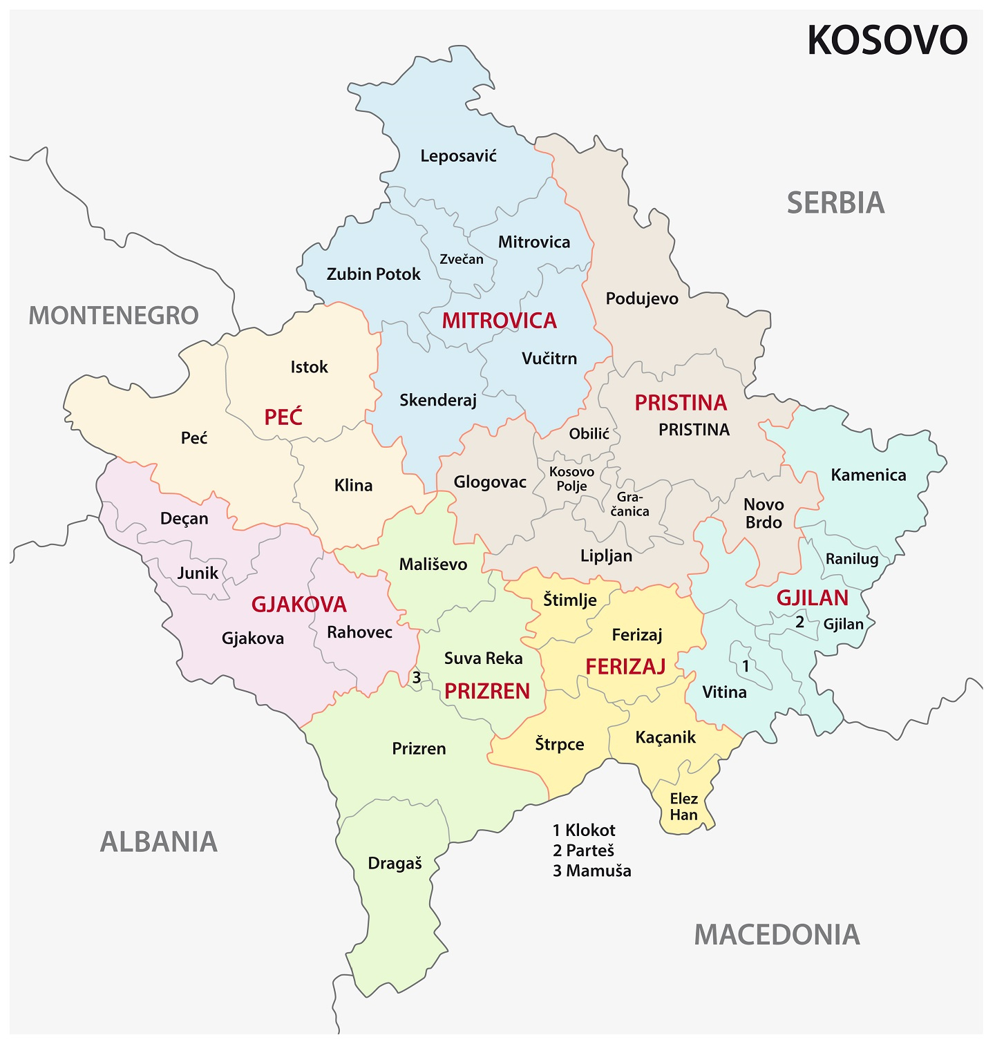 kosovo administrative and political map
