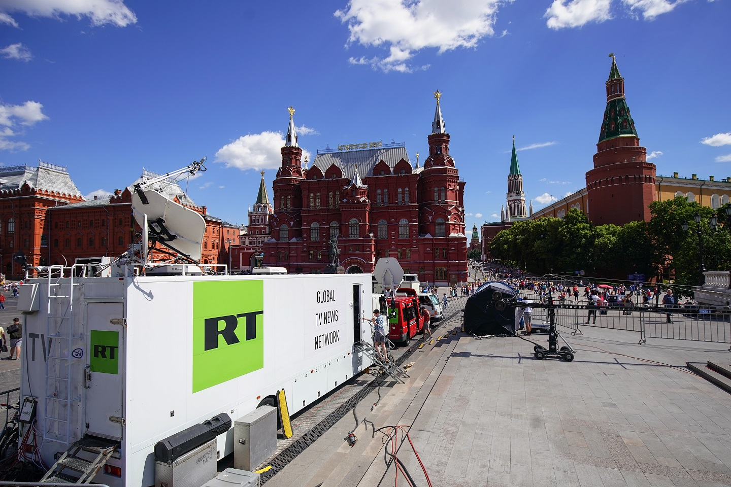 A photograph of a RT broadcasting van near Red Square