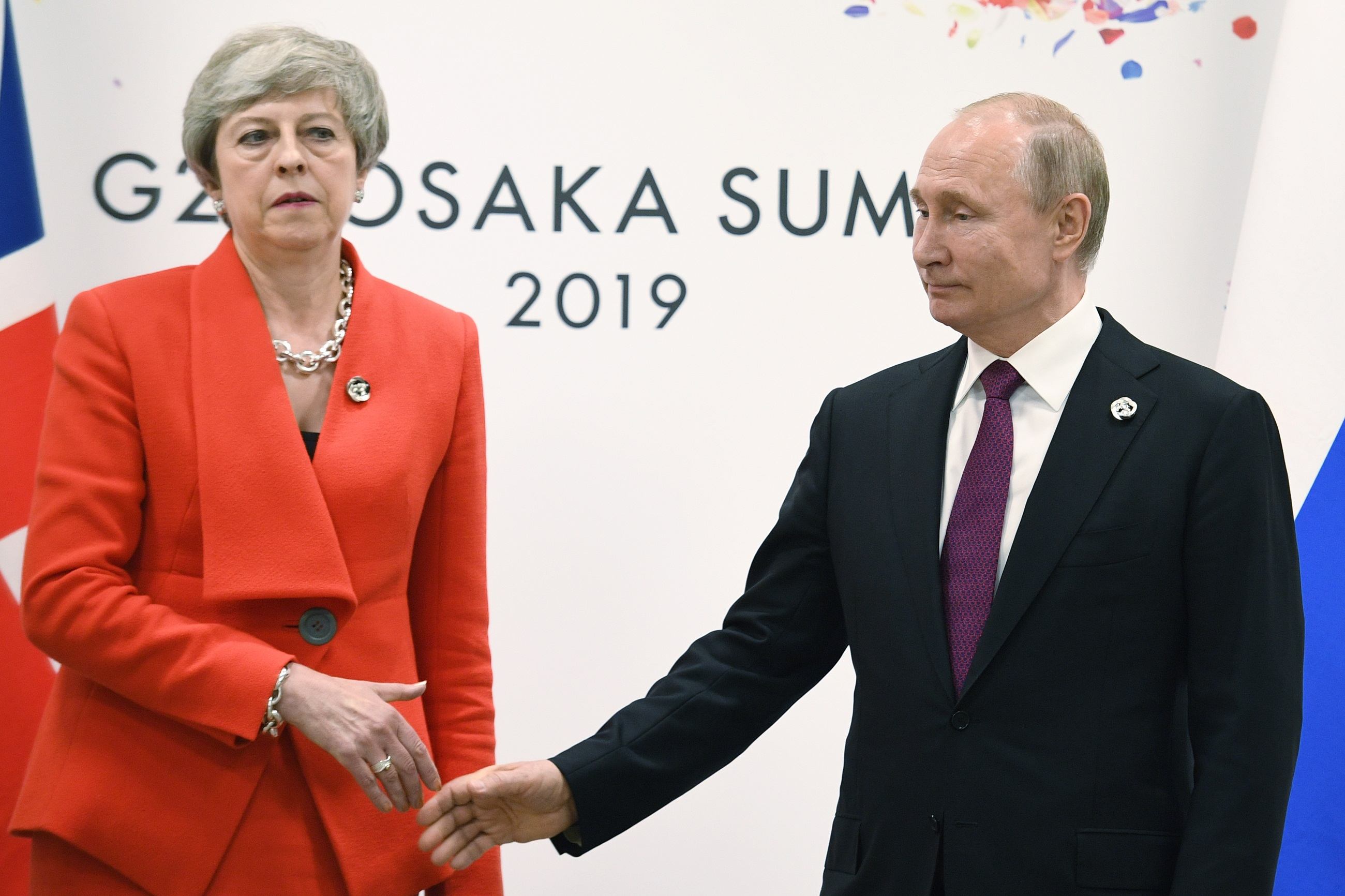 Prime Minister Theresa May meets Russian President Vladimir Putin during the G20 summit in Osaka, Japan.