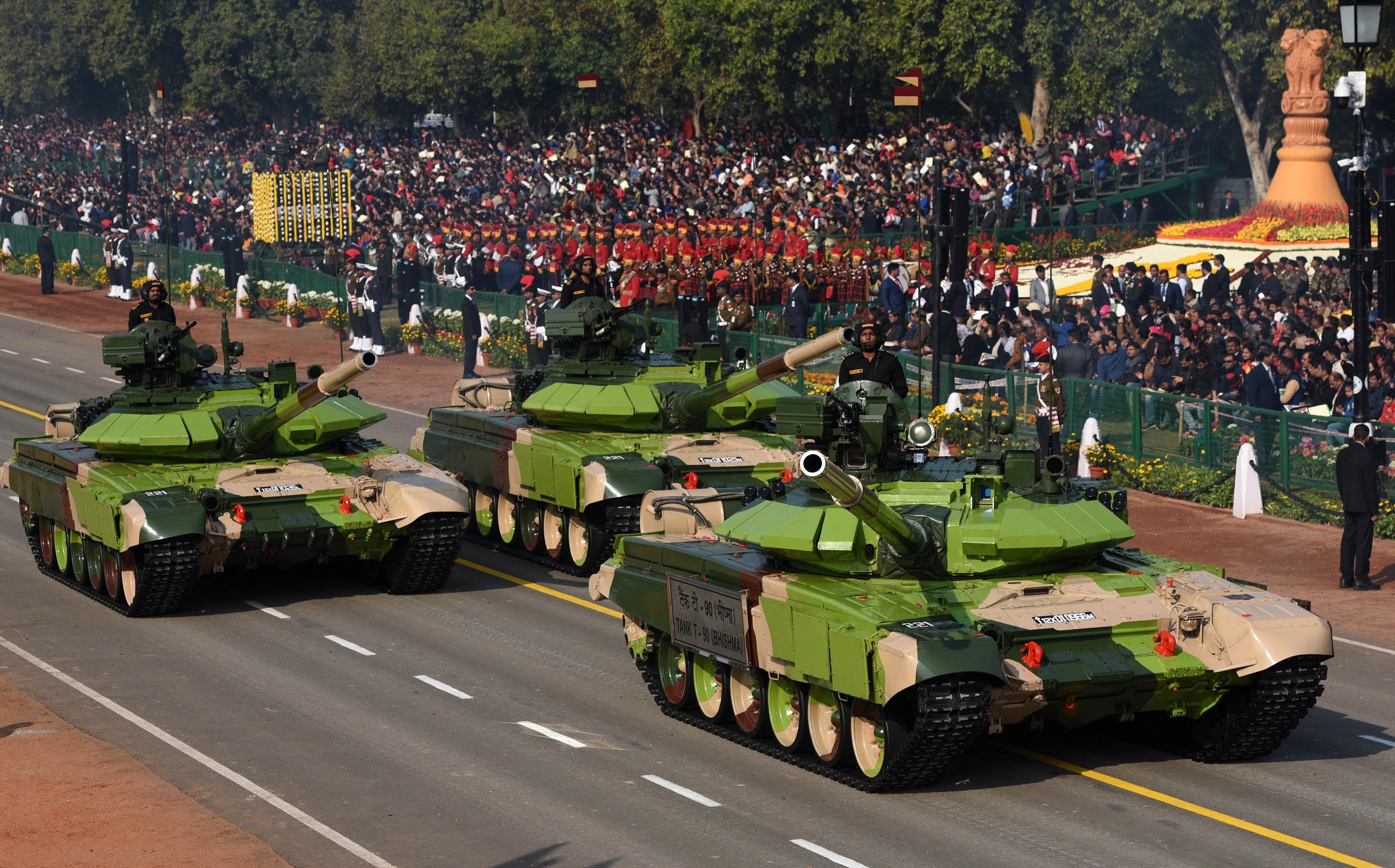 T-90 tanks pass through the saluting base during the 70th Republic Day Parade at Rajpath, on January 26, 2019 in New Delhi, India. On Indias 70th Republic Day, the annual parade showcased the country's rich cultural heritage and traditions.