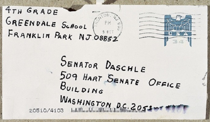 Amerithrax (anthrax investigation) envelope addressed to Senator Thomas Daschle, postmarked October 9, 2001.