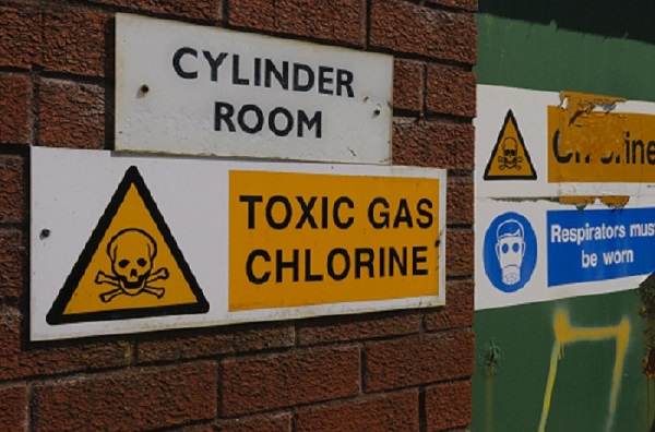 Signs warning of the presence of Chlorine gas at a water treatment plant.