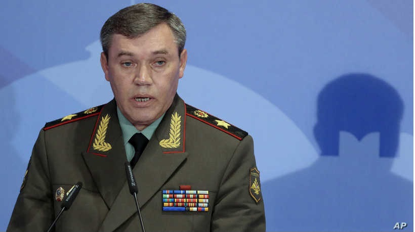 In this May 23, 2013 file photo Gen. Valery Gerasimov, the chief of the Russian military's General Staff, speaks during a security in Moscow.