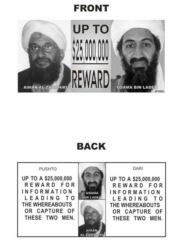 Leaflet Offering $25 Million For Osama bin Laden and Ayman al-Zawahiri