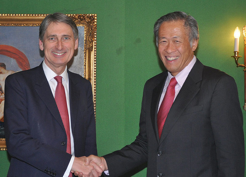 Minister for Defence Dr Ng Eng Hen meeting with the United Kingdom Secretary of State for Defence The Right Honourable Philip Hammond MP.