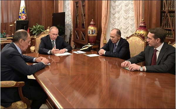 Meeting with Foreign Minister Sergei Lavrov (left), Director of the Foreign Intelligence Service Sergei Naryshkin (right) and Director of the Federal Security Service Alexander Bortnikov.