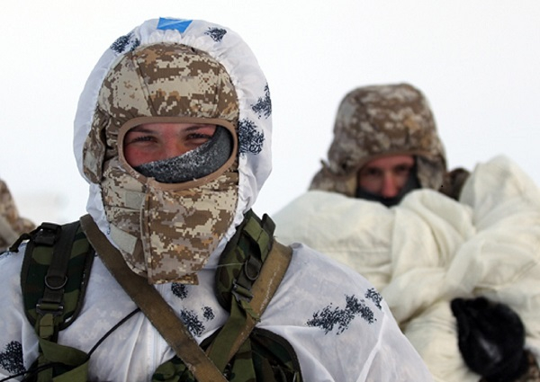Servicemen marching in Arctic