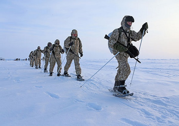 Airborne formation servicemen performed marching in the Arctic severe conditions.