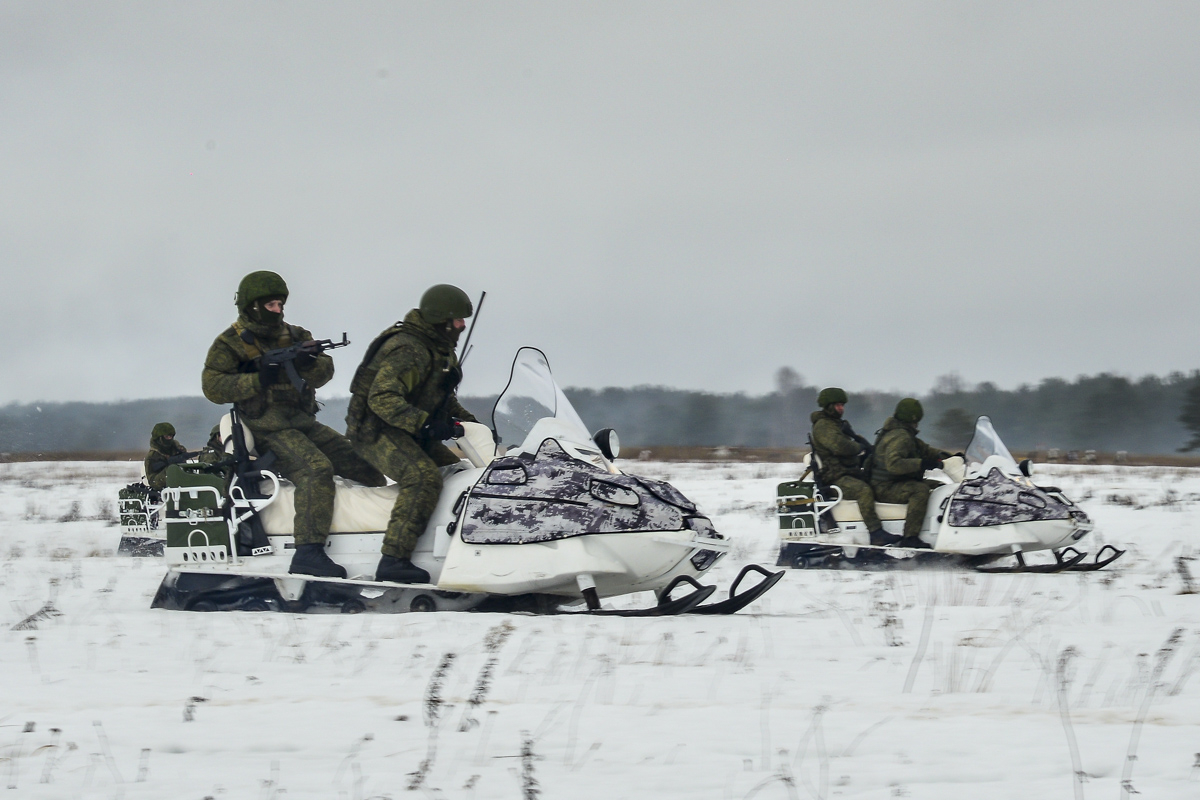 Spetsnaz are used to test many of the latest equipment, especially that intended for special missions and environments, such as these Russkaya Mekhanika A-1 snowmobiles.