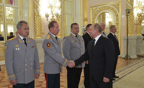 With Director of the Federal National Guard Service and Commander-in-Chief of the National Guard Viktor Zolotov at the ceremony to present senior officers and prosecutors appointed to higher positions, October 25, 2018 The Kremlin, Moscow.