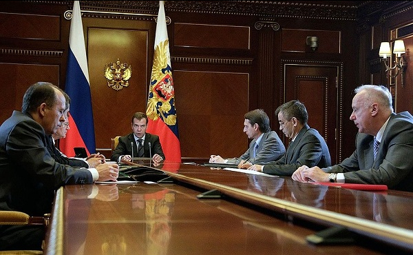 Dmitry Medvedev's meeting with Prosecutor General Yury Chaika, Interior Minister Rashid Nurgaliyev, Federal Security Service Director Alexander Bortnikov, Investigative Committee Chairman Alexander Bastrykin, Chief of Staff of the Presidential Executive Office Sergei Naryshkin and First Deputy Chief of Staff of the Presidential Executive Office Vladislav Surkov, Gorki, Moscow Region, July 29, 2011.