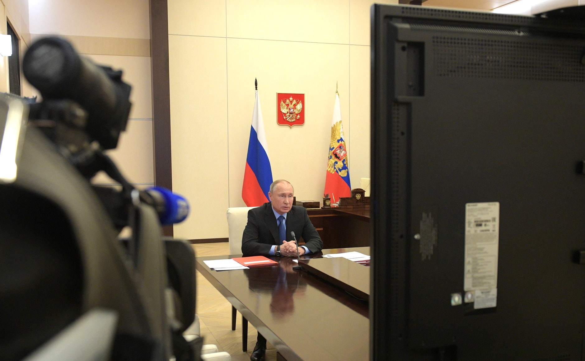 President Vladimir Putin meeting with the permanent members of the Security Council of the Russian Federation by videoconference.